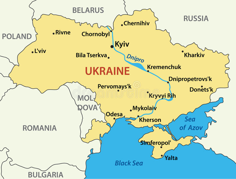 ilustracyjny mapy Ukraine wektor ilustracja wektor
