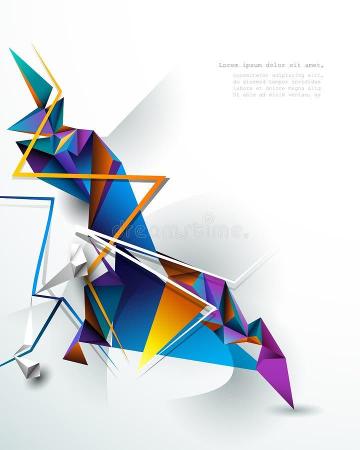 Ilustracyjny niski poli-, poligonalny projekt z białymi szarość, barwi tło Abstrakcjonistyczna nauka, futurystyczna, sie?, sieci  royalty ilustracja