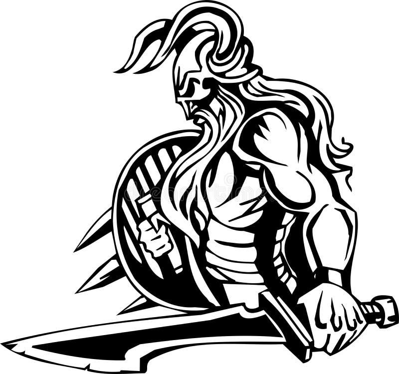 ilustracyjny nordic przygotowywający wektorowy Viking winyl obrazy stock