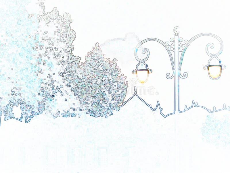 Ilustracyjny ołówek: kształt latarnia uliczna i drzewa zdjęcie stock