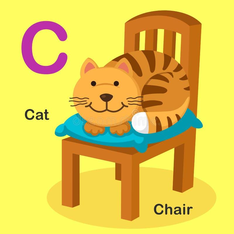 Ilustracyjny Odosobniony Zwierzęcy abecadło listu kot, krzesło royalty ilustracja