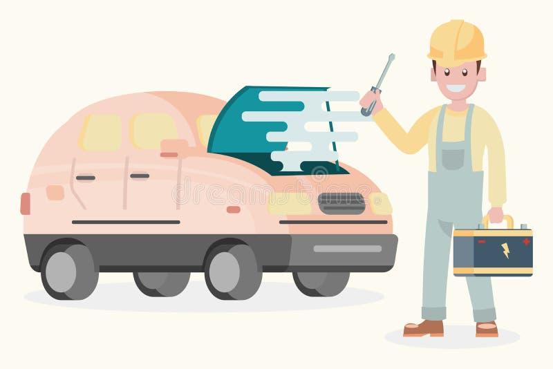 Ilustracyjny płaski projekta charakter, machanic z bateryjnym aut ilustracji