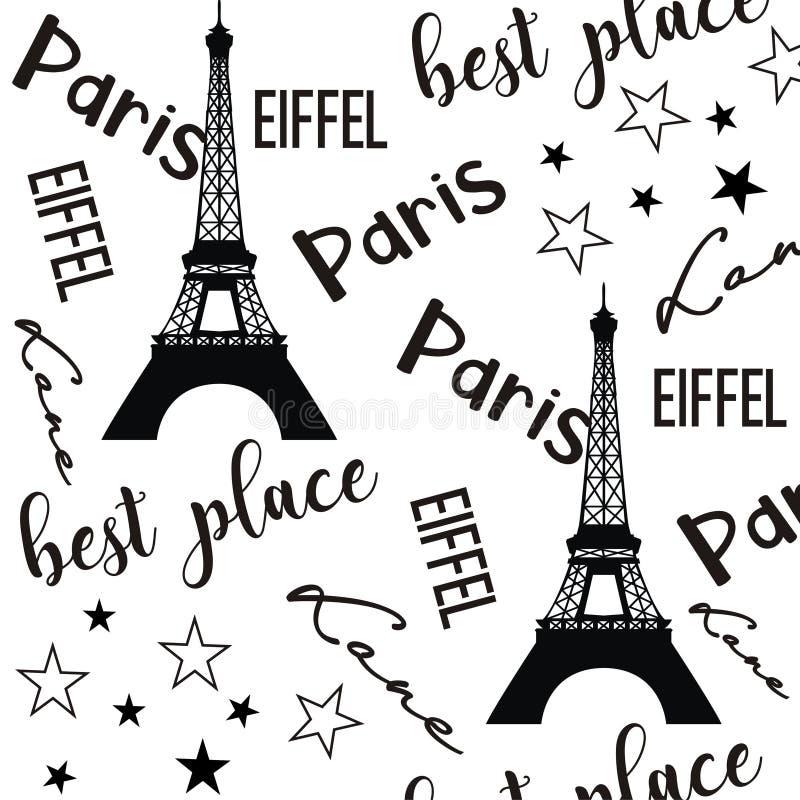 Ilustracyjny Paris deseniowy czarny i biały tło royalty ilustracja