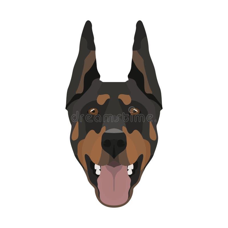 Ilustracyjny pies głowy Doberman royalty ilustracja