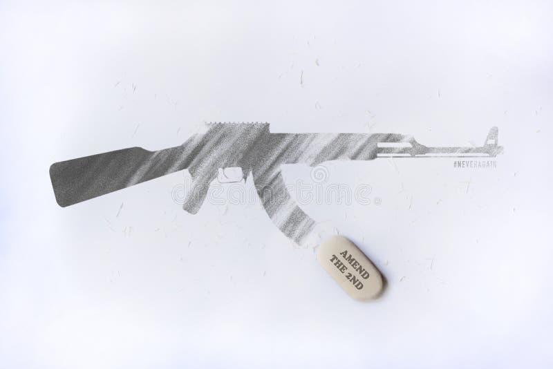 Ilustracyjny pomysł zmieniać 2nd poprawkę dla neveragain ruchu fotografia stock