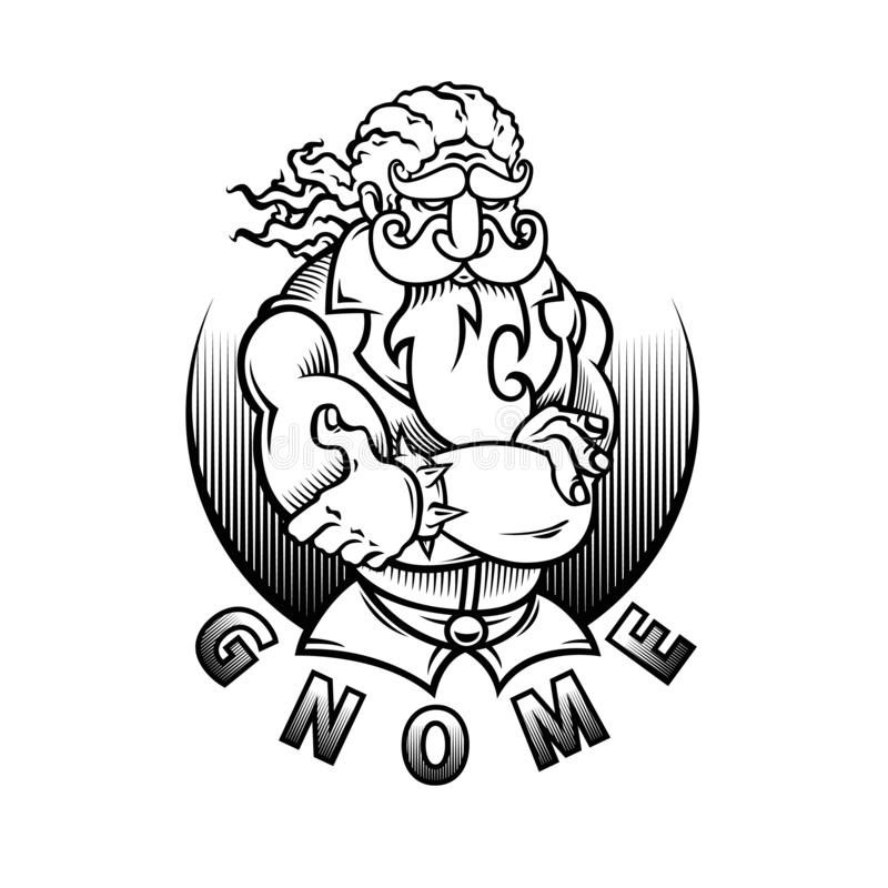 ilustracyjny projekta tatuażu gnom royalty ilustracja