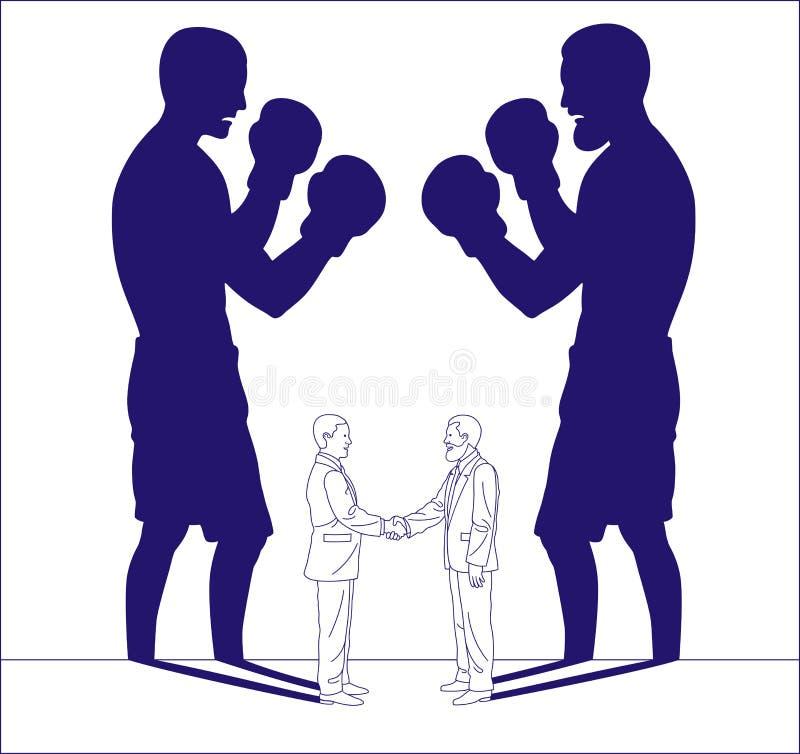 Ilustracyjny prosty kontur dwa biznesowy mężczyzna który ono zgadza się podczas gdy ich cienie stawiają czoło each inny jak bokse ilustracji