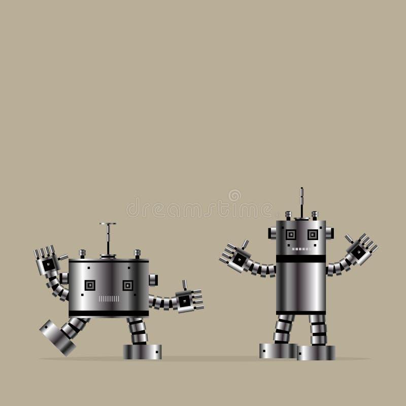 Ilustracyjny Przemysłowy technologii robotyka symbolu pojęcie bawi się dziecko szczęśliwi uśmiechnięci dwa robotów sztuczną intel royalty ilustracja