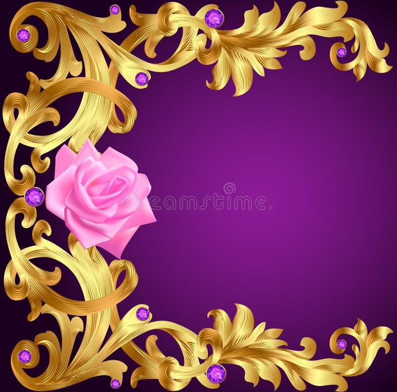 Ilustracyjny rocznika tło z kwiatu złota wzorem i pre ilustracji