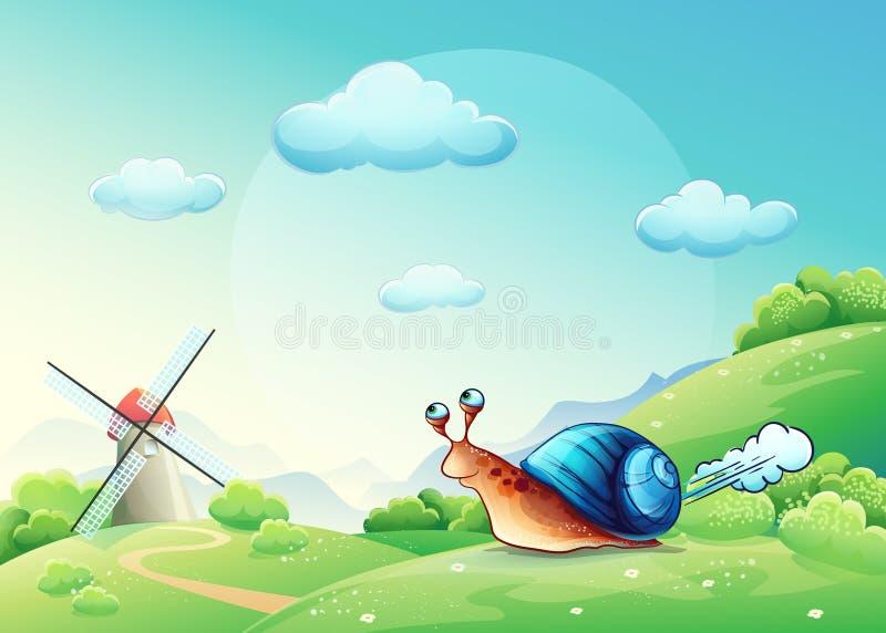 Ilustracyjny rozochocony ślimaczek na łące royalty ilustracja