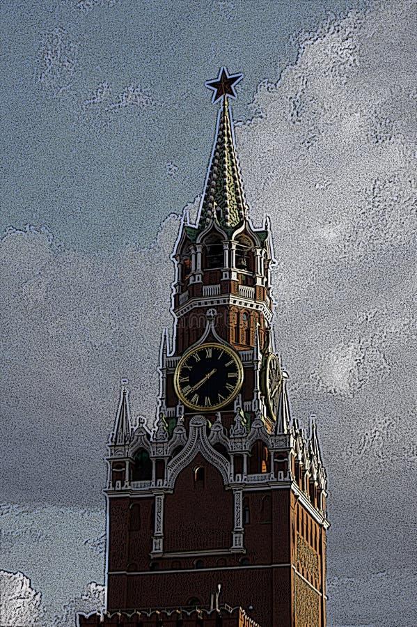 Ilustracyjny rytownictwo: Spasskaya wierza w Moskwa zdjęcia royalty free