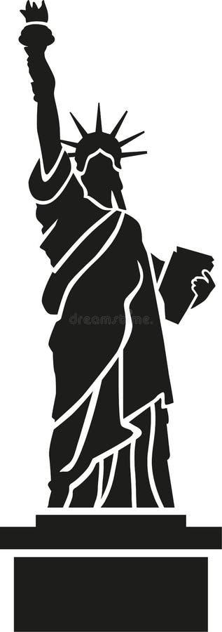 ilustracyjny swobody sylwetki statuy wektor ilustracja wektor