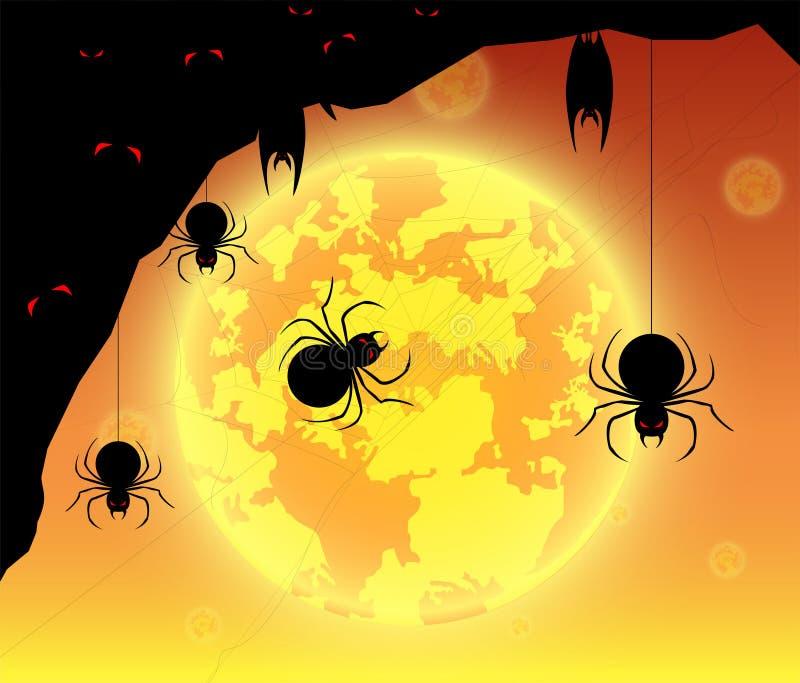 Ilustracyjny tło festiwal Halloween, księżyc w pełni na ciemnej nocy ilustracja wektor