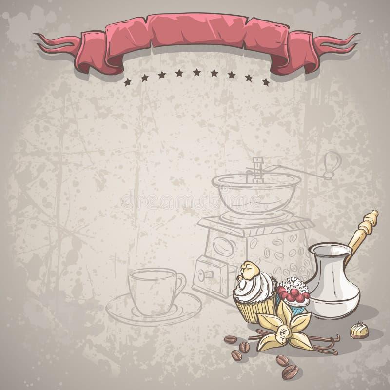 Ilustracyjny tło z kawowymi fasolami, Turku, wanilia tortem, owoc tortem i waniliowym kwiatem, ilustracja wektor