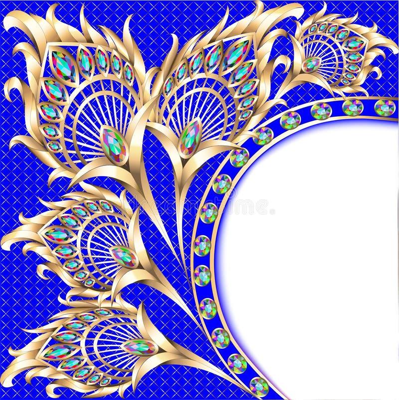Ilustracyjny tło z złocistym ornamentu pawia piórkiem i royalty ilustracja