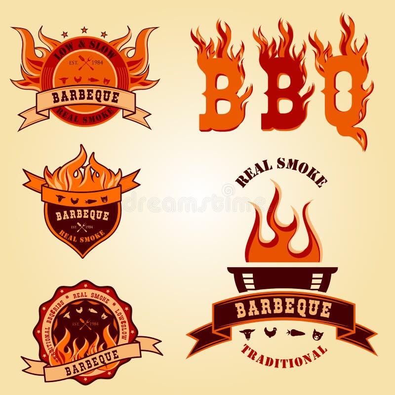 Ilustracyjny ustawiający BBQ logo przylepia etykietkę odznaka projekty ilustracji