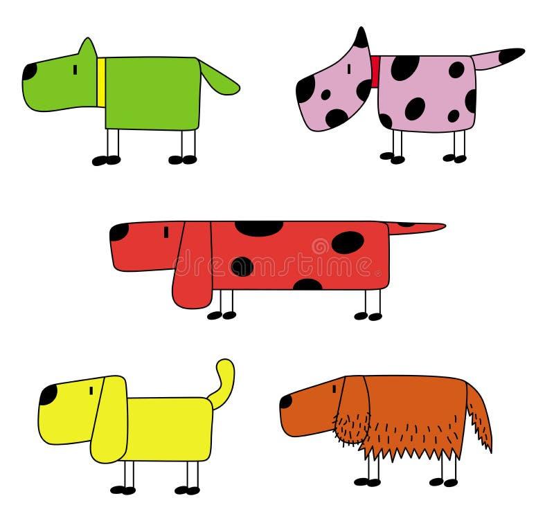 Ilustracyjny ustawiający pięć śmieszny pies zdjęcia royalty free