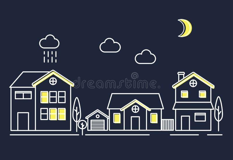 Ilustracyjny ustawiający wioski społeczności miasteczko przy nocą royalty ilustracja