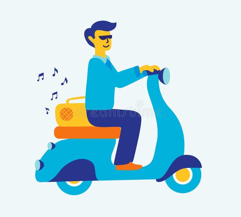 Ilustracyjny uwypukla mężczyzna dojeżdżać do pracy na retro hulajnoga słucha muzyka ilustracji