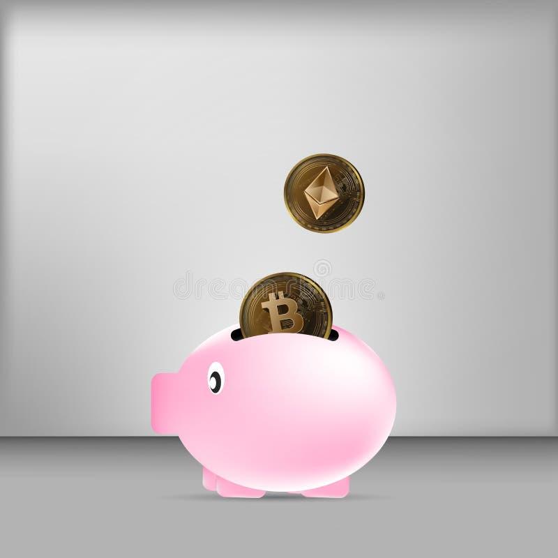 Ilustracyjny wektor bitcoin i ethereum moneta spada na prosiątko banku na popielatym tła tle ilustracja wektor