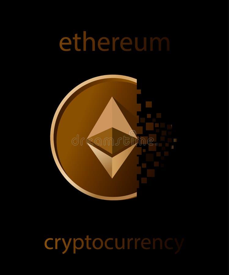 Ilustracyjny wektor złotej ethereum monety cyfrowy fading na czarnym tle royalty ilustracja