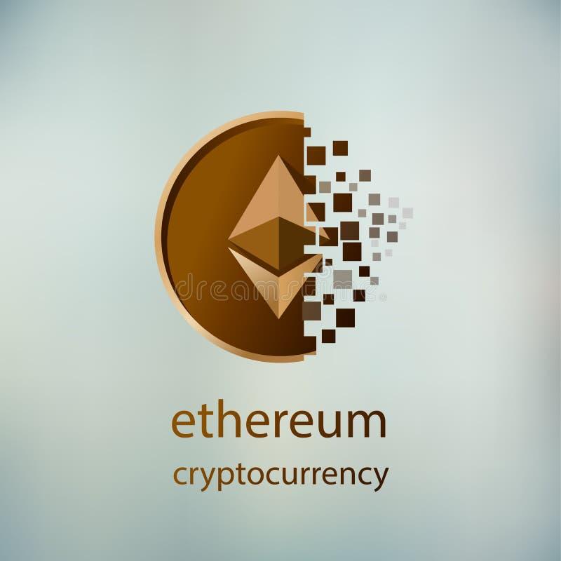 Ilustracyjny wektor złotej ethereum monety cyfrowy fading na zamazanym tle ilustracja wektor