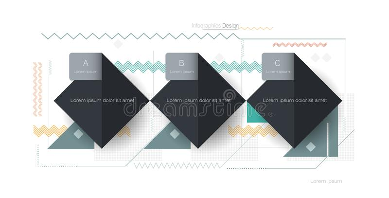 Ilustracyjny wektorowy chłodno abstrakcjonistyczny geometryczny tło ilustracji