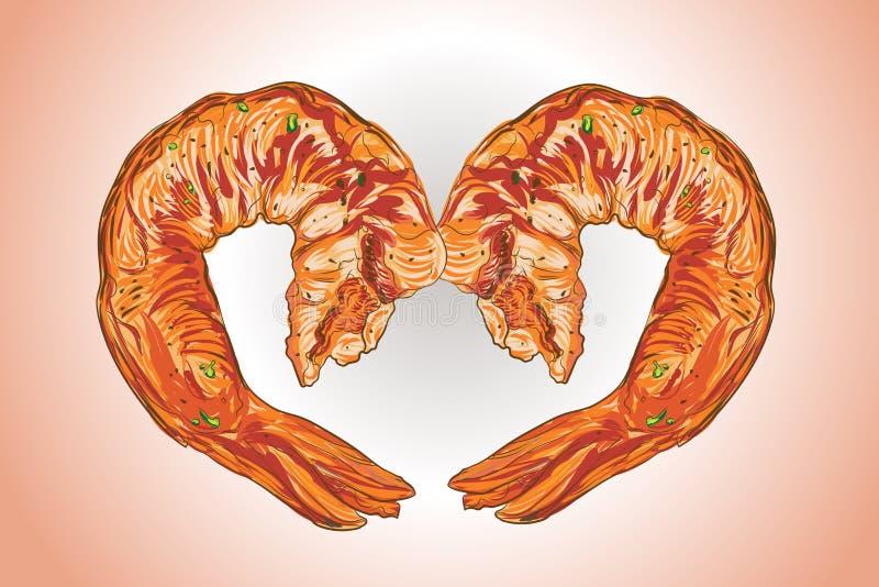 Ilustracyjny wektorowy rysunek grill garneli BBQ styl ilustracji