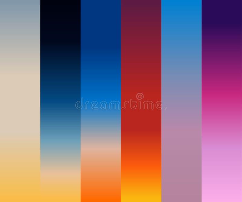 Ilustracyjny wektorowy ustawiający gradientowy niebo ilustracji