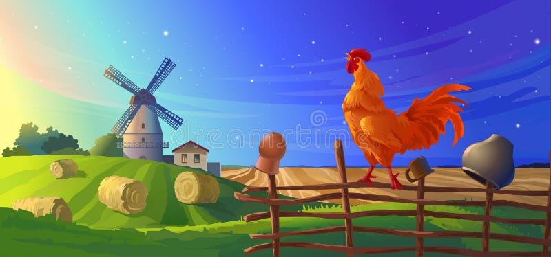 ilustracyjny wiejski lato krajobraz ilustracja wektor
