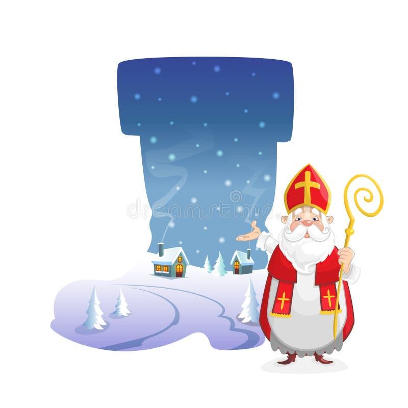 Ilustracyjny zima krajobraz w formie but z ślicznym świętym Nicholas ilustracja wektor