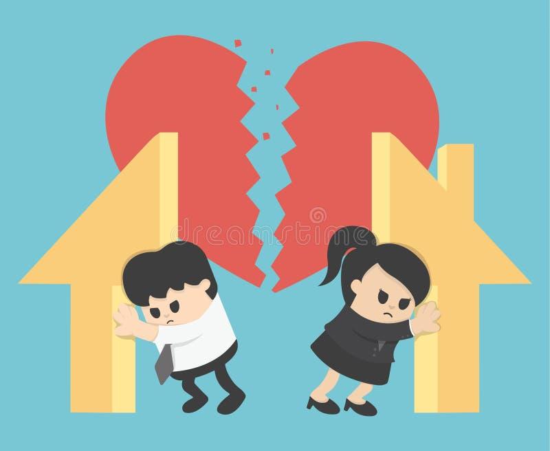 Ilustracyjny związku rozwód, podział własność ilustracja wektor