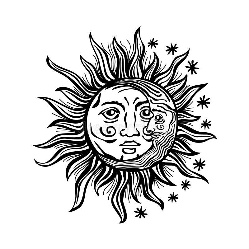 Ilustracyjnych słońce księżyc gwiazdy twarzy ludzkich rocznika wektoru retro folklor royalty ilustracja