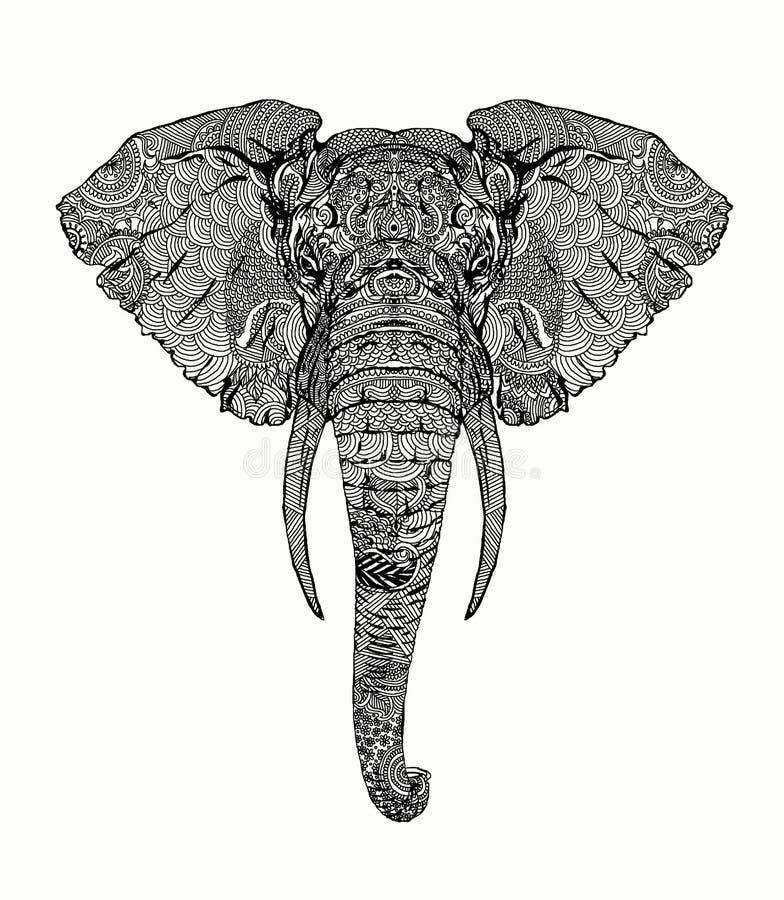 Ilustrador altamente detallado del elefante ilustración del vector