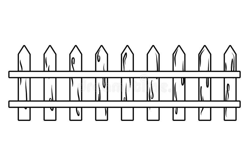 Ilustrador de madeira isolado do vetor do projeto da cerca ilustração do vetor