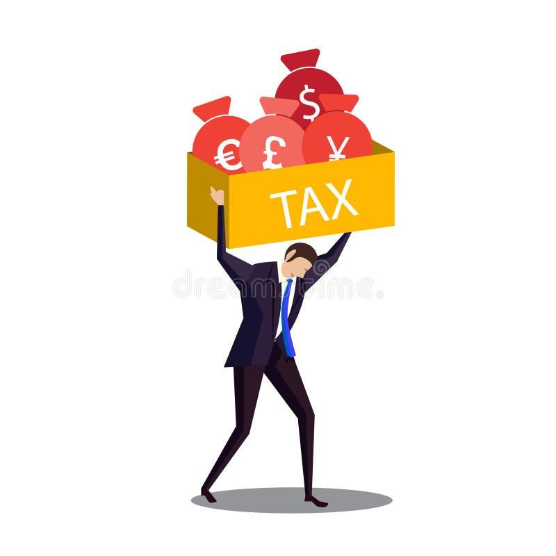 Ilustrador del impuesto de la caja de la elevación del hombre de negocios libre illustration