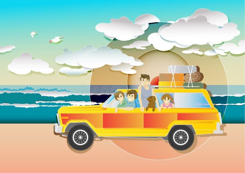 Ilustrador del vector del coche de la playa de la puesta del sol de las vacaciones de familia fotografía de archivo libre de regalías