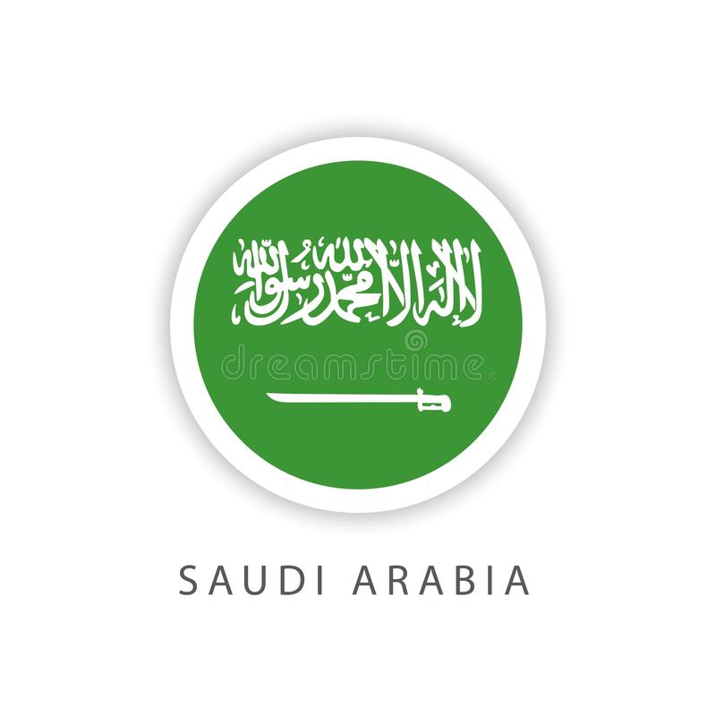 Ilustrador do projeto do molde do vetor da bandeira do botão de Arábia Saudita ilustração stock
