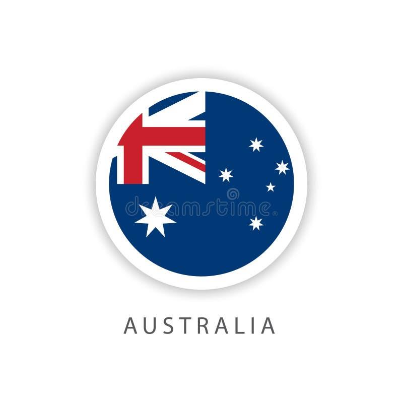 Ilustrador do projeto do molde do vetor da bandeira do botão de Austrália ilustração royalty free