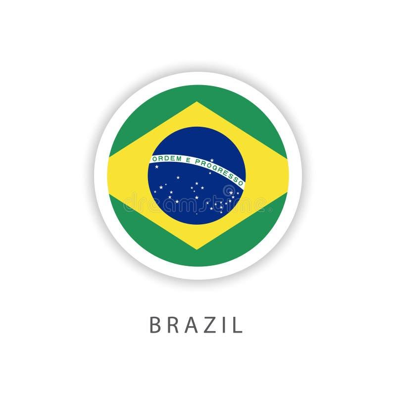 Ilustrador do projeto do molde do vetor da bandeira do botão de Brasil ilustração do vetor
