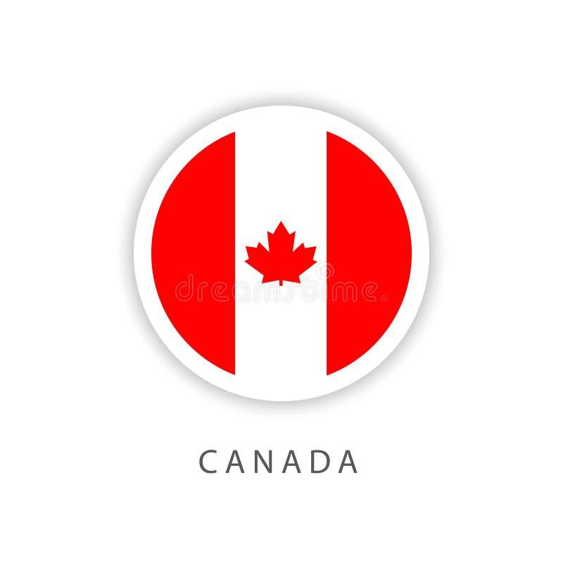 Ilustrador do projeto do molde do vetor da bandeira do botão de Canadá ilustração stock