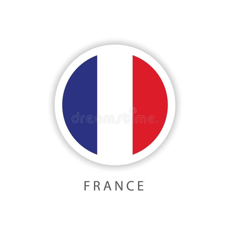Ilustrador do projeto do molde do vetor da bandeira do botão de França ilustração royalty free