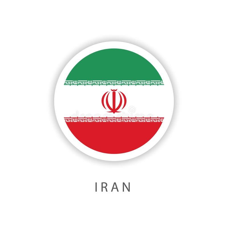 Ilustrador do projeto do molde do vetor da bandeira do botão de Irã ilustração do vetor