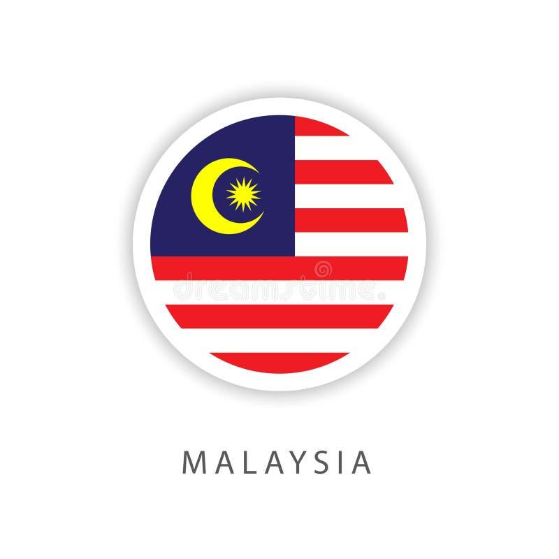 Ilustrador do projeto do molde do vetor da bandeira do botão de Malásia ilustração do vetor