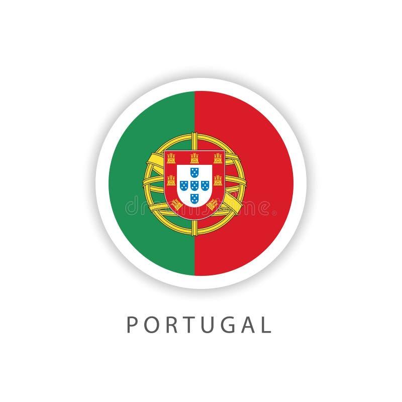 Ilustrador do projeto do molde do vetor da bandeira do botão de Portugal ilustração stock