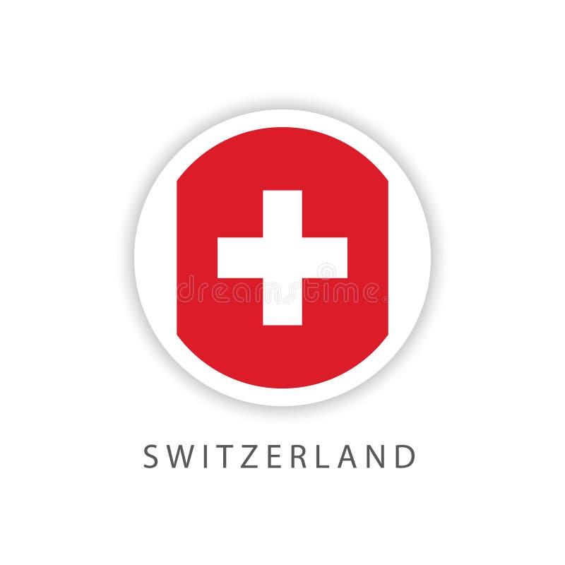 Ilustrador do projeto do molde do vetor da bandeira do botão de Suíça ilustração stock