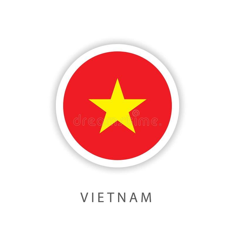 Ilustrador do projeto do molde do vetor da bandeira do botão de Vietname ilustração do vetor