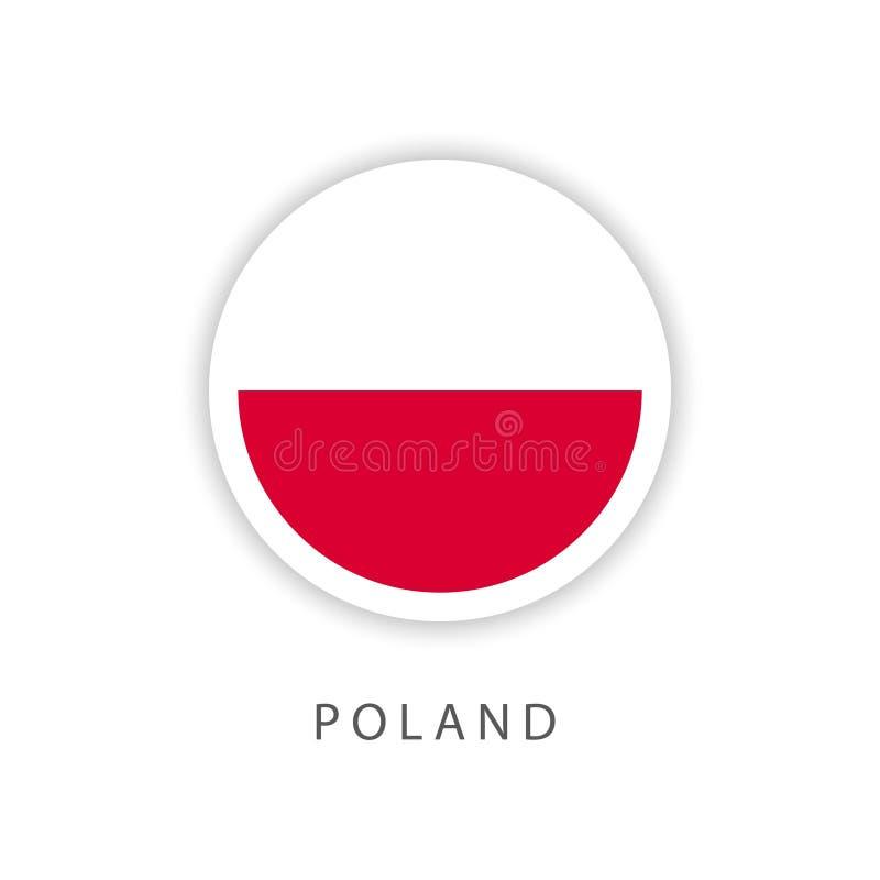 Ilustrador do projeto do molde do vetor da bandeira do botão do Polônia ilustração royalty free