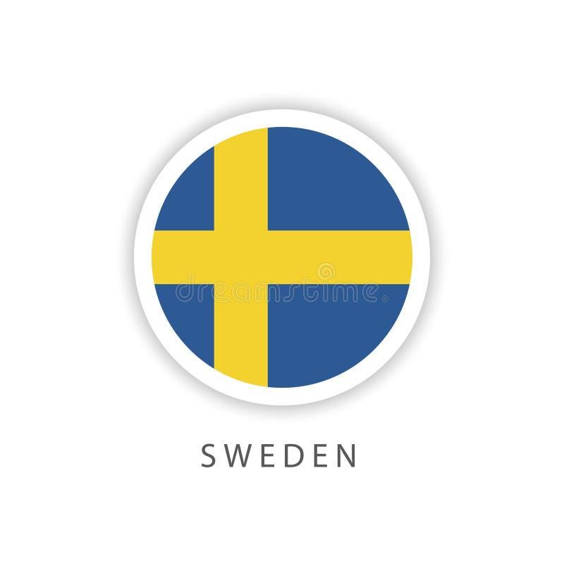 Ilustrador do projeto do molde do vetor da bandeira do botão da Suécia ilustração stock