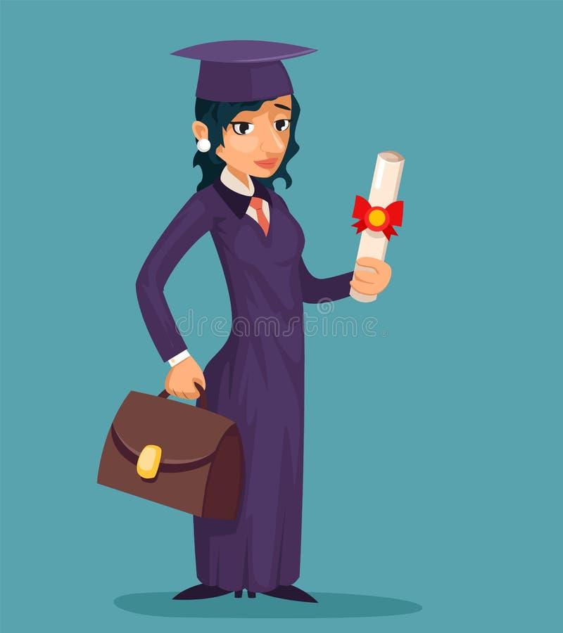 Ilustrador do vetor do rolo do tampão da graduação do projeto de personagem de banda desenhada do graduado da fêmea da estudante ilustração royalty free